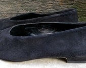20% Coupon SALE: Vintage Robert Clergerie Black Suede Flats, Size 10 (10 1/2) Made in France