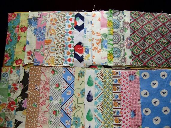 Vintage Feedsack Fabric, Thirty 6 inch Squares, Set 5