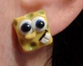 SpongeBob square pants polymer clay studs