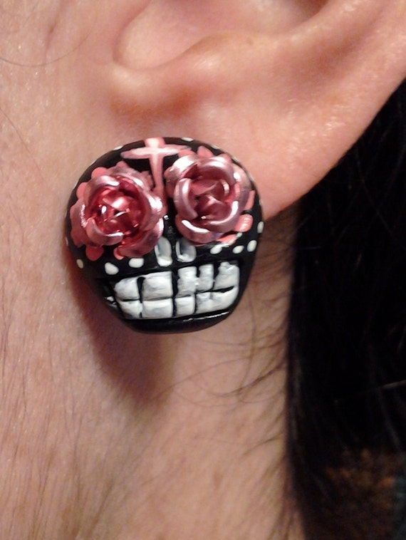 Day of the dead Black and Pink skull studs