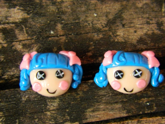 Blue haired with Pink Bow Earrings
