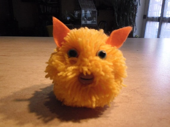 "plush, soft doll , soft goblin , pom poms pet , colored wool pet ""Yellow Lanotto"""