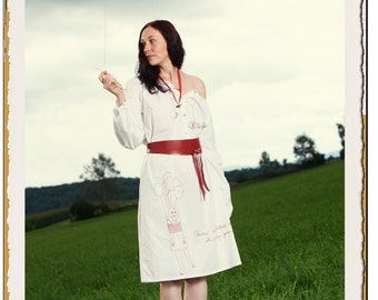 "Dress with long puff sleeves and red leather wrap belt, hand-embroidered, white cotton - ""Balloon Birds"""