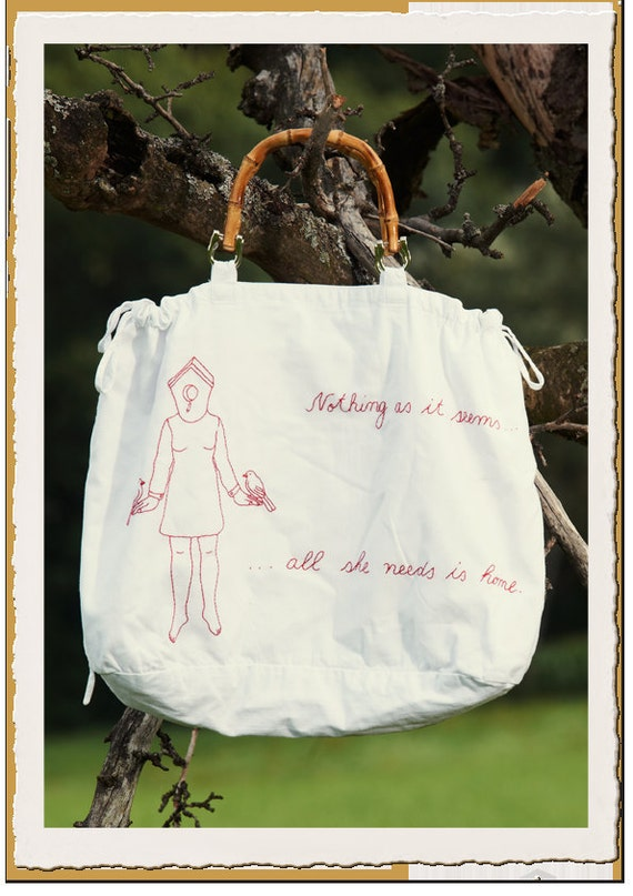 "Hand-embroidered Shopper -""Cotton Candy"""