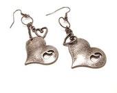 Tarnished Hearts Pierced Earrings