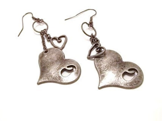 Tarnished Hearts Pierced Earrings