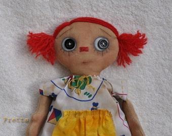 "SALE! Just Annie. 11"" Hand stitched all natural rag doll (Primitive, Folk doll)"