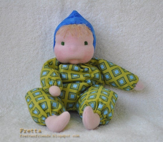 "ON SALE. Waldorf Floppy Baby,  25 cm / 10""  Blue Eyes & Blonde Hair, Soft Sculpted Baby Doll."