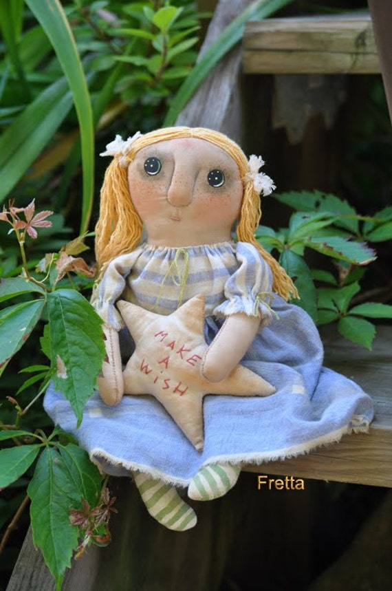 Hand stitched all natural Olly-Polly. Primitive, Folk doll, Child Friendly Rag Doll