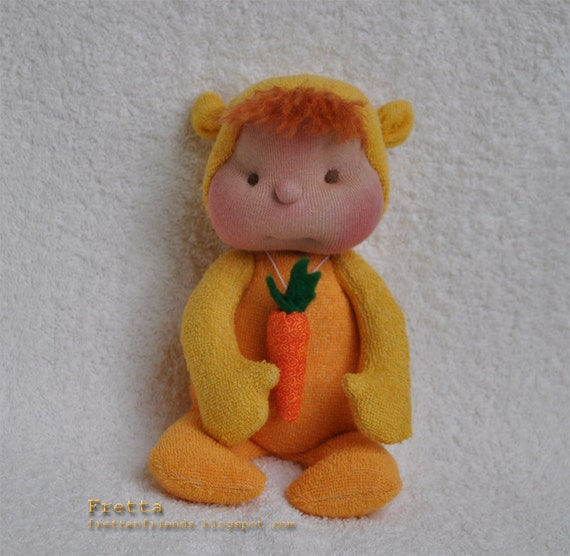 """ON SALE. Miniature Soft Sculptured Baby Doll """"Carrot"""", 7.5"""" chirl friendly baby doll"""