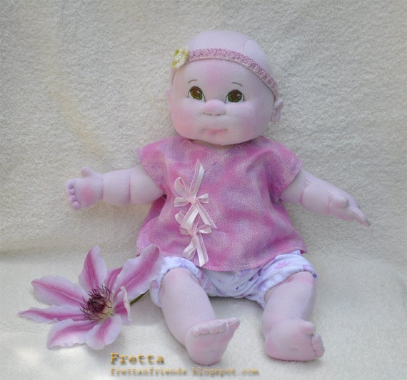 "RESERVED for Tatiana. Little Darling. 38 cm / 15"" Soft Sculpture Baby Girl, Child Friendly Cloth Doll."