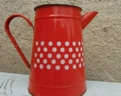 """Vintage French """"coffee pot in red enamel with white dots"""""""