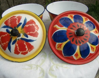 Reserved Dona French vintage 1930 Two large bowls or bowl hand painted.