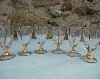 Six French 1950 vintage stemware for liquor