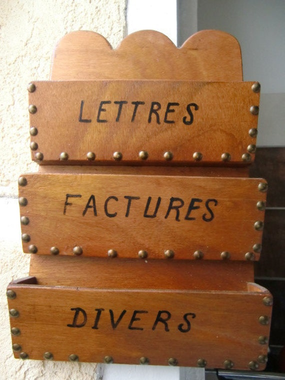 Vintage French Wall hanging Letter Rack