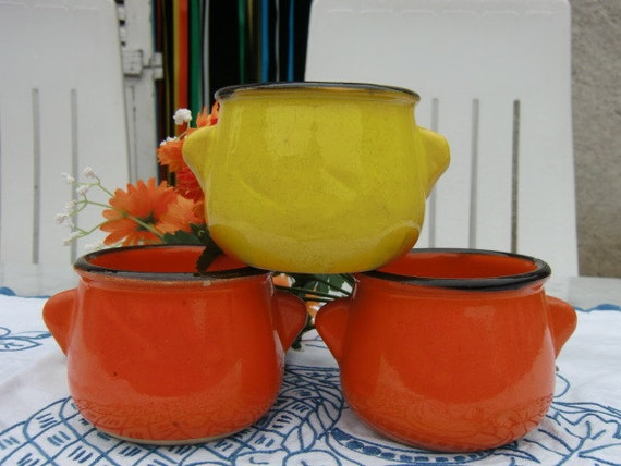 Funky French Red/Orange and Yellow 1960s Small Cocottes
