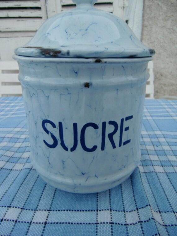 Vintage French Enamelled sugar cannister