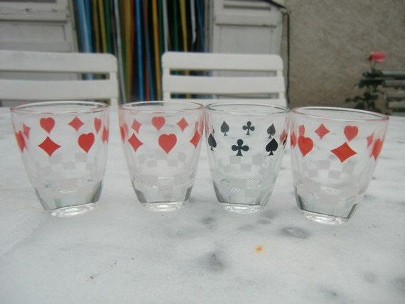 Four French 1960 vintage shot glasses
