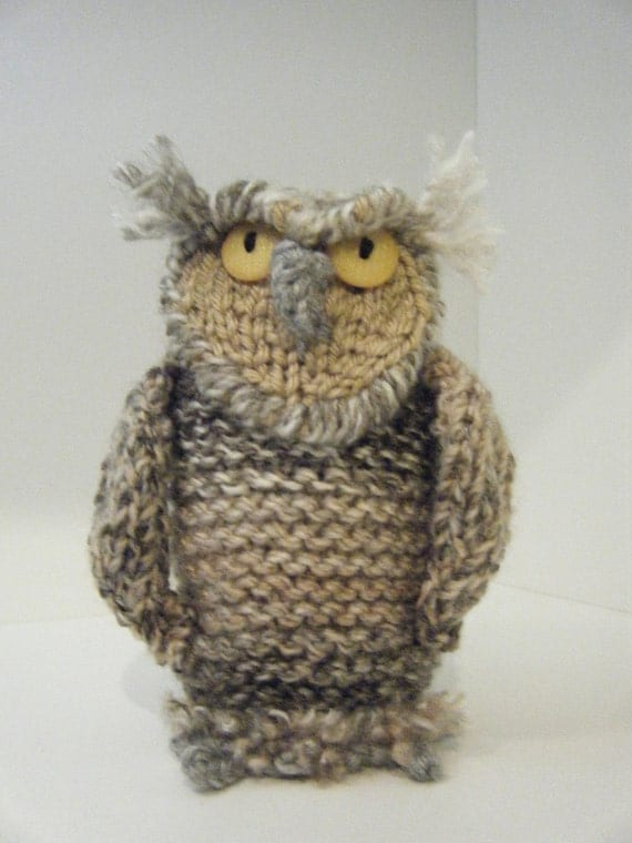 Hand knitted Oliver Owl by karenshines on Etsy