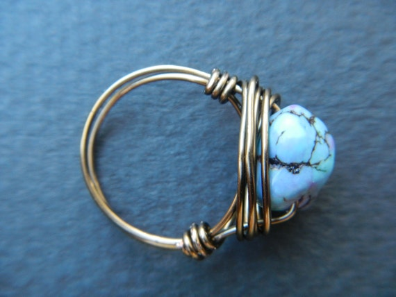 Bronze Wire Wrapped Turquoise Ring, Size 6
