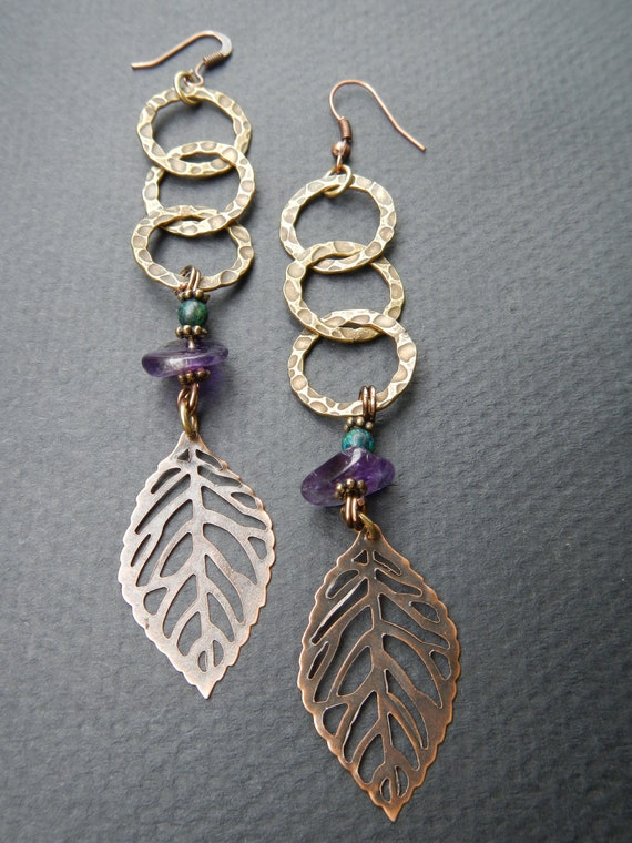 Amethyst and Austrian Jasper Brass Leaf Earrings