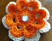 Medium Crochet Double Flower hair clip