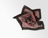 Vintage Winter Silk Scarf for Women - Square, Black, Red, Floral