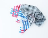 Vintage Suare Cotton Scarf  by Honey - Geometric, Red, Blue, White