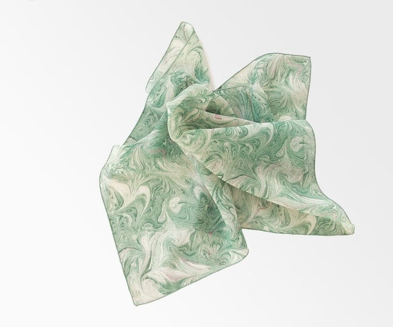 Square Vintage Scarf - Green, White, Earth, Marbled, variegated