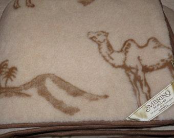 Luxury 100% Merino Wool CAMEL Blanket, size:200x200cm
