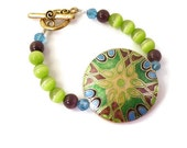 Cleo- Cloisonne Focal Bead with Purple, Blue and Green Beads