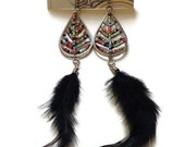 Pocahontas -  Long Indian Inspired Multi-Colored Beaded Earrings with Dangling Black Feathers