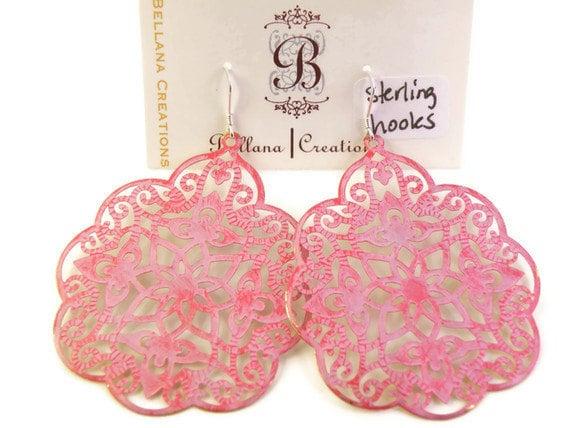 Stephanie - Hand Painted Pink Filigree Earrings