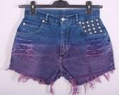 DIP DYE Ombre Shorts Vintage Destroyed DIY Cut Off Jeans High Waisted Denim M