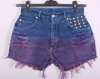 Jeans Shorts High Waisted Denim Dip Dye Ombre Vintage Destroyed DIY Cut Off Ripped Blue Purple / MEDIUM /