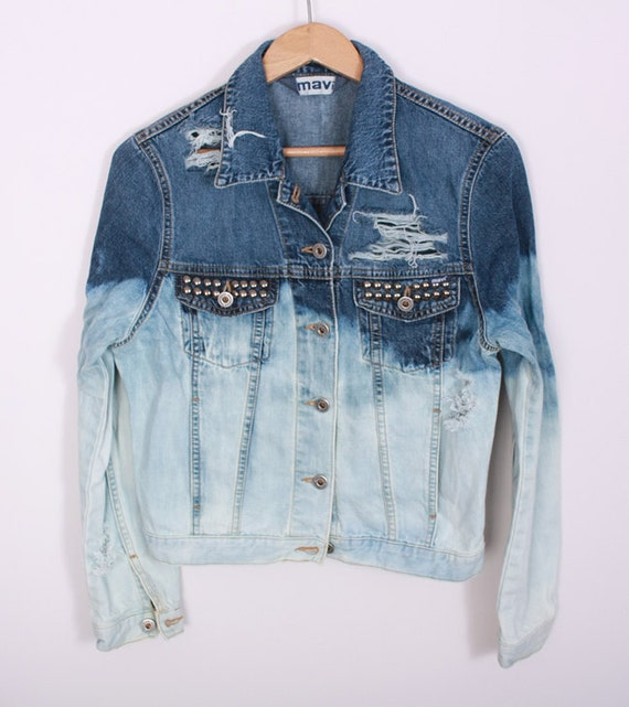OMBRE Acid Wash JACKET Jeans Vintage DIY Denim Blue White Studded 90s