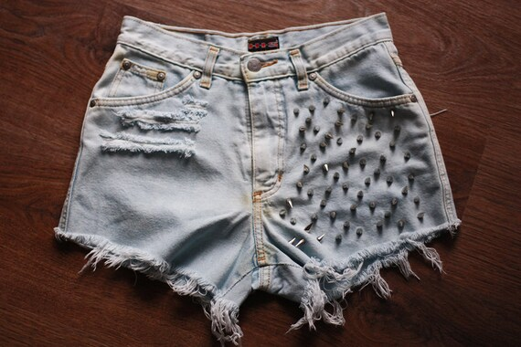 SPIKE shorts 90s GRUNGE Shorts Vintage Destroyed DIY Cut Off Jeans High Waisted Denim M
