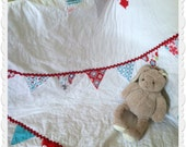 Red and Aqua Bunting Baby Quilt