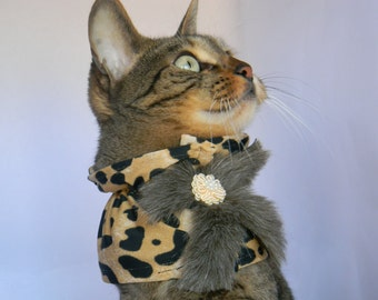 Furry Cheetah Collar by FiercePetFashion