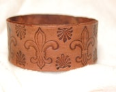 Fleur De Lis  Handmade Leather Wristband
