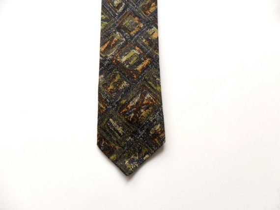 Cotton Skinny Tie With Green Batik Style Print by Arthur Cohen Carl Neckwear Company