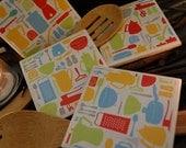 Colorful Kitchenware Coaster set of 4