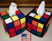 Rubik's Rubiks Rubix Rubic Cube Tissue Box Cover Hand Made  As Seen on Big Bang Theory Double Pack Save Money 1 Each Style