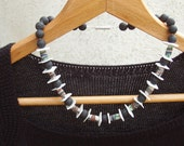 """MONTICELLO VINTAGE necklace - """"ETHIOPIAN"""" vintage glass beads, porcelain, lava beads and sterling silver"""