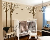 Vinyl Wall Decal Forest Tree Birch Set and Birds 101 inches tall Baby nursery decor