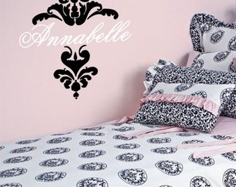 Vinyl Wall Decal Sticker Damask and Name Monogram Baby Girl  Nursery Wall Decal