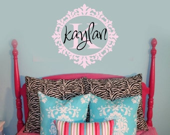 Vinyl Wall Decal Sticker Monogram and name baroque oval frame baby girl nursery