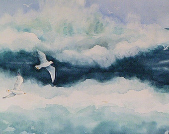 "Original Watercolor painting ""The Crash of the Waves"" on 12 x 16 watercolor paper.  Home decor art."