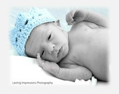Preemie Blue Crown, Crochet Hat, Headcovering for Infant Boys, Great Photo Prop