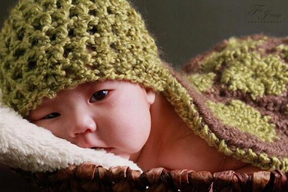 Precious Newborn Turtle Hat and Cape, Crochet Baby Photo Prop